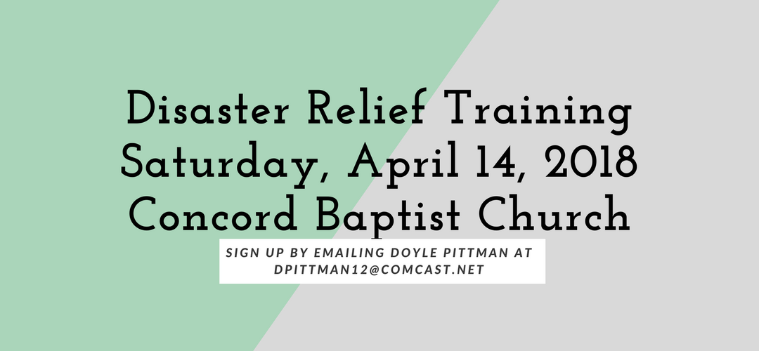 Disaster Relief Training at Concord Baptist Church